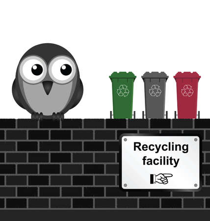 Monochrome comical recycling facility sign on brick wall isolated on white background Vector