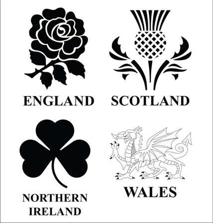 cymru: United Kingdom emblems Illustration