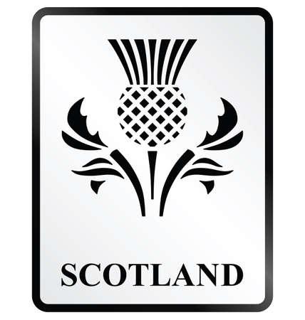 Monocromo Escocia signo de la información pública sobre fondo blanco
