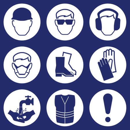 seguridad e higiene: Construcci�n de la Industria de la Salud y Seguridad iconos aislados sobre fondo azul