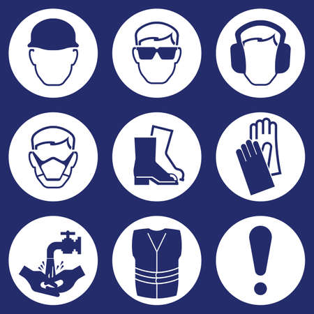 safety goggles: Construction Industry Health and Safety Icons isolated on blue background Illustration
