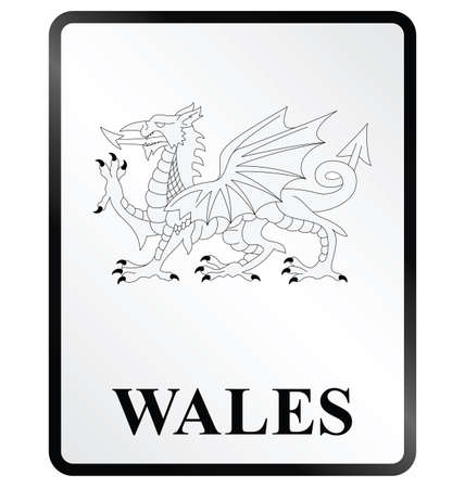 Monochrome Wales public information sign isolated on white background