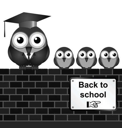 nursery school: Monochrome comical back to school sign on brick wall isolated on white background Illustration