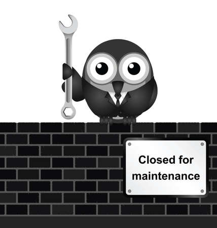 maintain: Monochrome comical website closed for maintenance sign on brick wall isolated on white background Illustration
