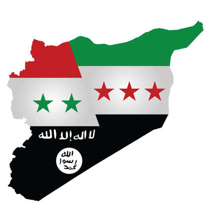 syrian war: Map of Syria showing the three warring factions dividing the county translation on flag reads there is no God but God Mohammed is his messenger