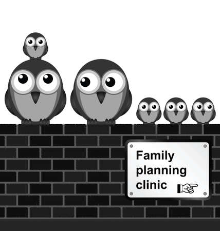 family isolated: Monochrome comical family planning sign on brick wall isolated on white background