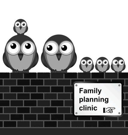planificacion familiar: Monocromo familia c�mica signo de planificaci�n en la pared de ladrillo aislado sobre fondo blanco Vectores