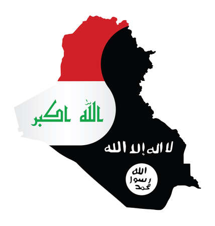 iraq conflict: Map of Iraq showing the two warring factions dividing the county translation on flag reads there is no God but God Mohammed is his messenger