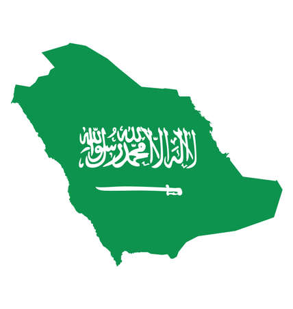 arabia: Flag of Saudi Arabia overlaid on outline map isolated on white background translation of Arabic script there is no God but God and Muhammad is the messenger of God