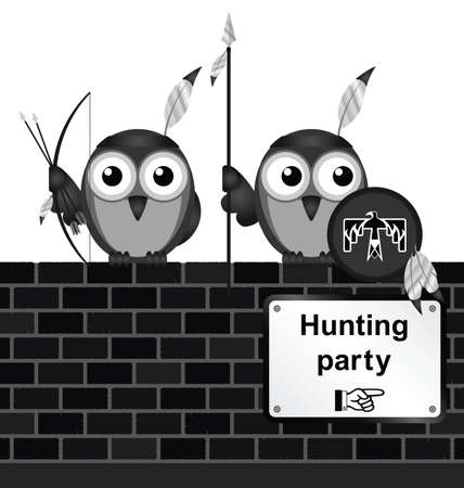 indian headdress: Monochrome comical hunting party sign on brick wall isolated on white background Illustration