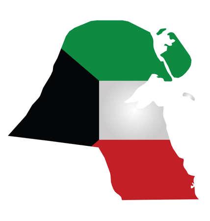 Flag of Kuwait overlaid on outline map isolated on white background Illustration