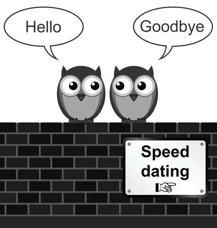 speed dating: Monochrome comical speed dating sign on brick wall isolated on white background Illustration