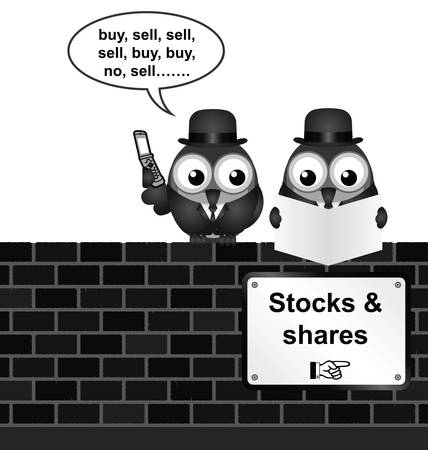 shares: Monochrome comical stocks and shares sign on brick wall isolated on white background Illustration