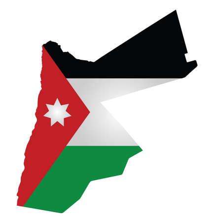 Flag of Hashemite Kingdom of Jordan overlaid on outline map isolated on white background
