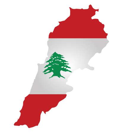 Flag of Lebanon overlaid on outline map isolated on white background Illustration