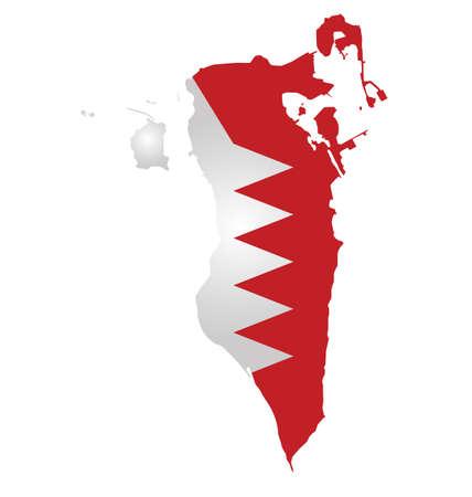 Flag of Bahrain overlaid on outline map isolated on white background Illustration