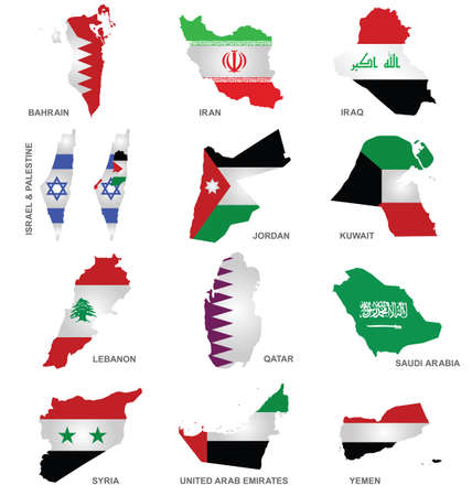 gulf: Flags of Gulf States overlaid on outline maps isolated on white background