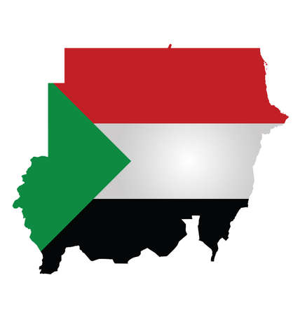 sudan: Flag of the Republic of the Sudan overlaid on outline map isolated on white background