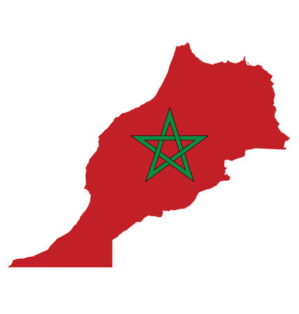 sunni: Flag of the Kingdom of Morocco overlaid on outline map isolated on white background Illustration