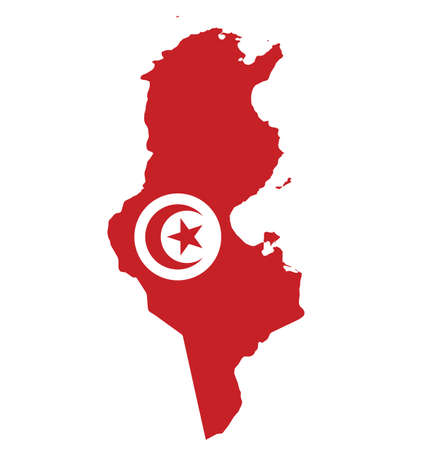 Flag of Republic of Tunisia overlaid on outline map isolated on white background Illustration