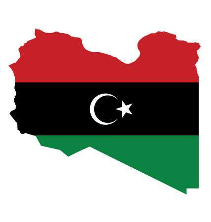 Flag of the State of Libya overlaid on outline map isolated on white background Illustration