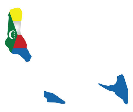 comoros: Flag of the Union of the Comoros Islands overlaid on outline map isolated on white background