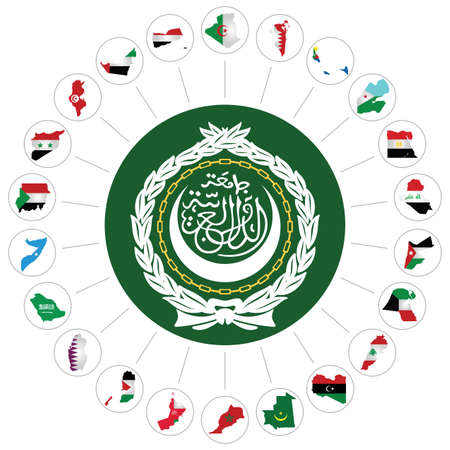 Flags of the Arab League member states overlaid on outline map and the Arab League emblem isolated on white background.  Syria included although currently suspended following the 2011 uprising Vector