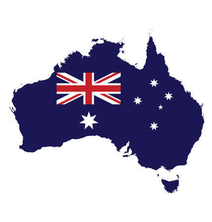 Flag of Australia overlaid on map isolated on white background Vector