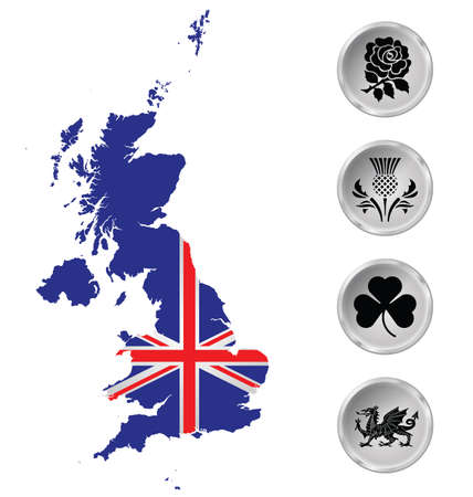 Flag of the United Kingdom of Great Britain and Northern Ireland overlaid on outline map and national emblem buttons isolated on white background Illustration