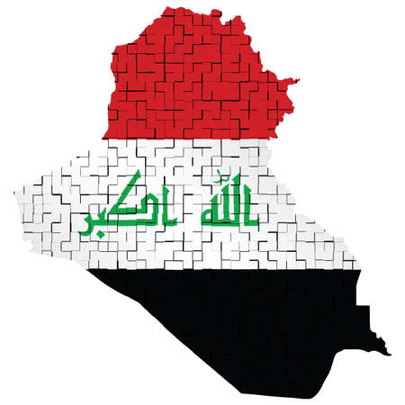 hostility: Fragmented flag of Iraq representing the conflict between the Iraqi government and Islamic State forces isolated on white background