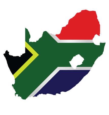 Bandera de la República de Sudáfrica superpuesta sobre mapa de contorno aislado en el fondo blanco