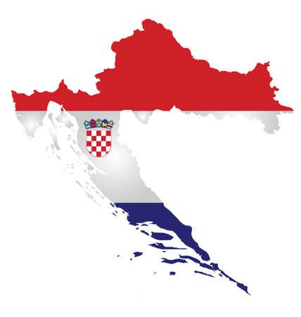 croatia flag: Flag of the Republic of Croatia overlaid on outline map isolated on white background