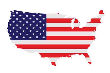 Bandera de los Estados Unidos de América superpuesta sobre mapa detallado contorno aislado en el fondo blanco