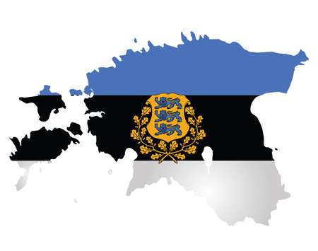 estonia: Flag and coat of arms of the Republic of Estonia overlaid on outline map isolated on white background