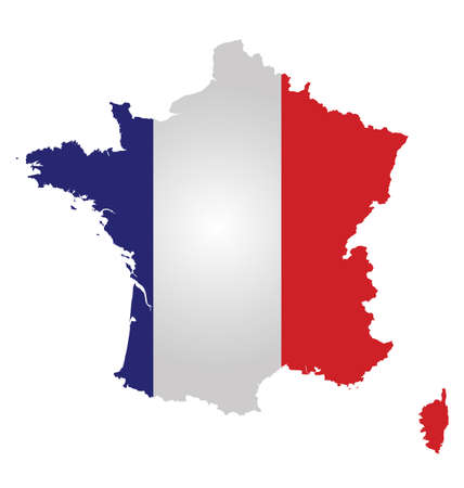 french flag: Flag of the French Republic overlaid on outline map isolated on white background