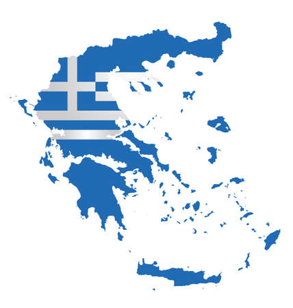 hellenic: Flag of the Hellenic Republic overlaid on detailed outline map isolated on white background