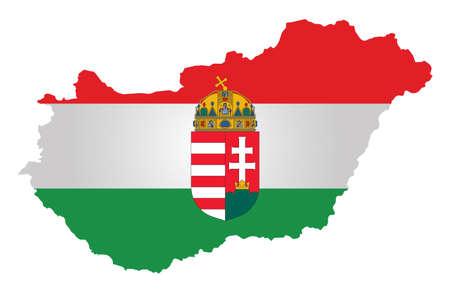 흰색 배경에 고립 된 개요지도에 겹쳐 헝가리 공화국의 국기와 국장