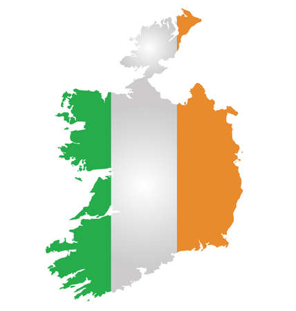 eire: Flag of the Republic of Ireland overlaid on detailed outline map isolated on white background