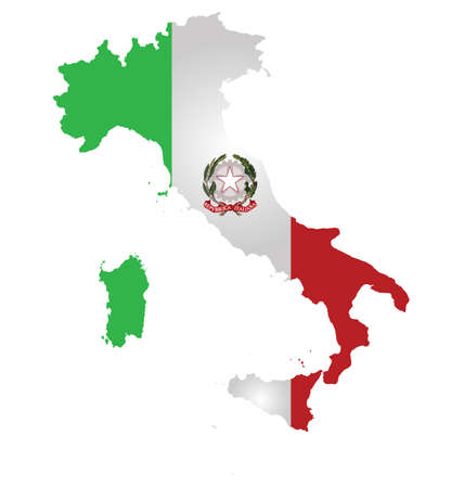 Flag and coat of arms of the Italian Republic overlaid on detailed outline map isolated on white background Vector
