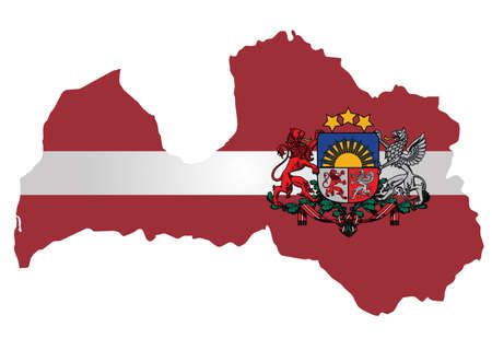 Flag and coat of arms of the Republic of Latvia overlaid on detailed outline map isolated on white background