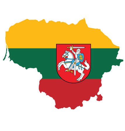 lithuanian: Flag and coat of arms of the Republic of Lithuania overlaid on outline map isolated on white background