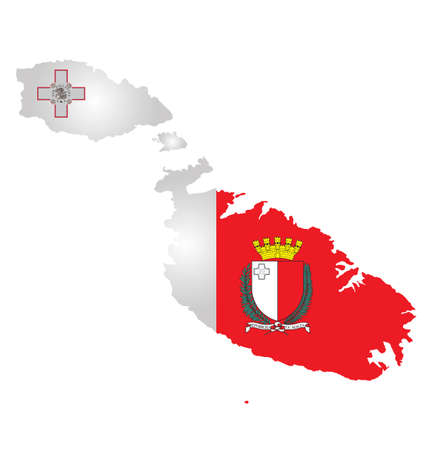 Flag and coat of arms of the Republic of Malta overlaid on outline map isolated on white background 일러스트