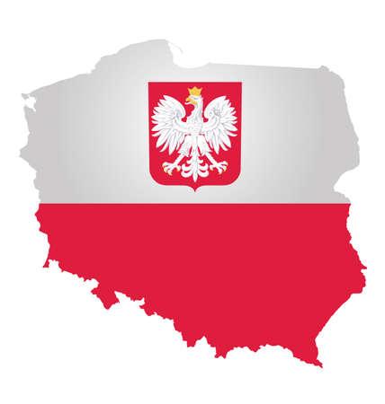 bandera de polonia: Bandera y escudo de armas de la República de Polonia superpuestos en el mapa contorno aislado en el fondo blanco