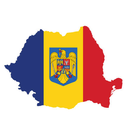 romania flag: Flag and coat of arms of Romania overlaid on outline map isolated on white background