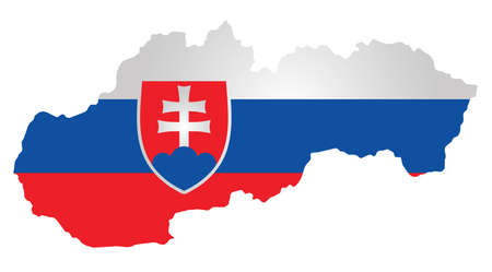 slovakian: Flag with coat of arms of the Slovak Republic overlaid on outline map isolated on white background