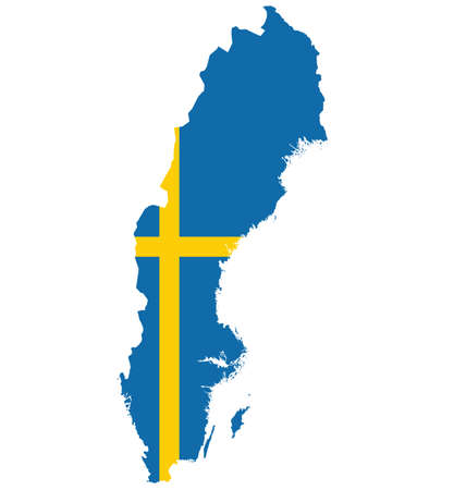 map sweden: Flag of the Kingdom of Sweden overlaid on outline map isolated on white background