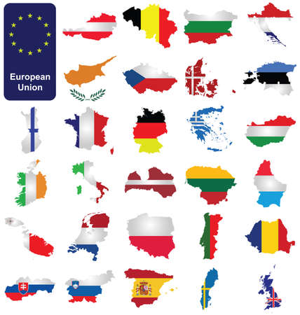 slovenia: Flags of the member countries of the European Union overlaid on outline map isolated on white background