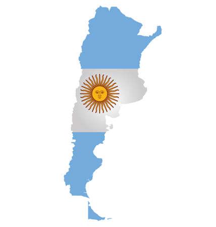 bandera argentina: Bandera de la República Argentina superpuesta sobre mapa detallado contorno aislado en el fondo blanco