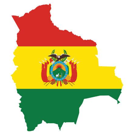 mapa de bolivia: Bandera del Estado Plurinacional de Bolivia superpuesta sobre mapa detallado contorno aislado en el fondo blanco