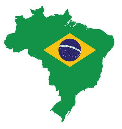 federative republic of brazil: Flag of the Federative Republic of Brazil overlaid on detailed outline map isolated on white background Illustration